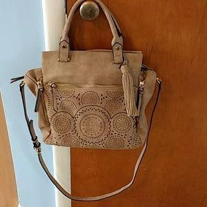 Handbags - Tan laser cut design crossbody purse handbag